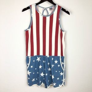 Junk Food Patriotic Romper Retro Shorts American